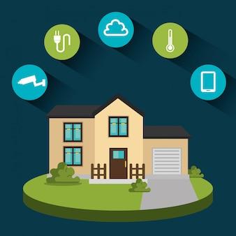 Ícone de conjunto de tecnologia em casa inteligente