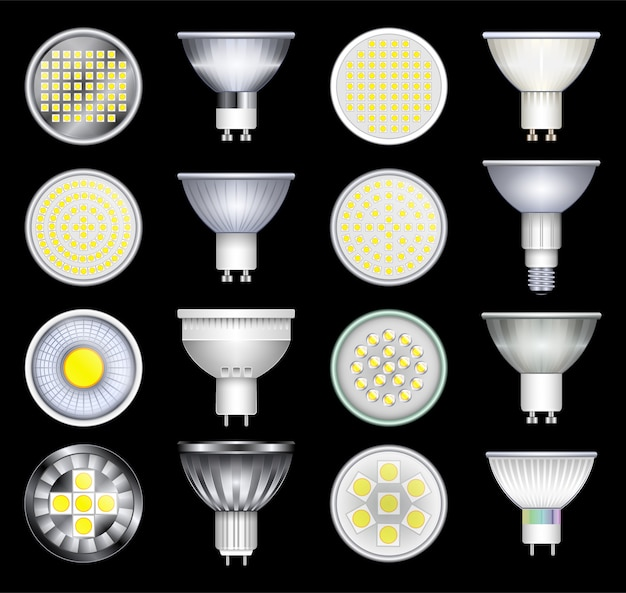 Ícone de conjunto realista de lâmpada led. ilustração iluminação lâmpada no fundo branco. ícone de conjunto realista led lâmpada.