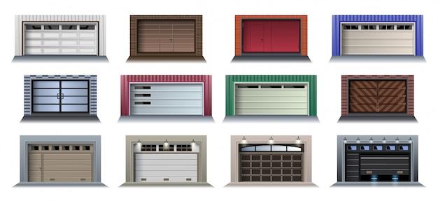 Ícone de conjunto realista de porta de garagem. portão de rolo de ilustração