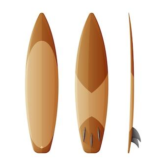 Ícone de conjunto realista de prancha de surf.