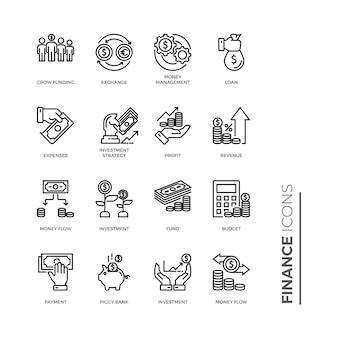 Ícone de conjunto simples de finanças, ícones de linha relacionados de vetor