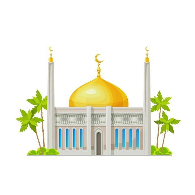 Ícone de construção de mesquita muçulmana. templo da religião do islã, vetor dos desenhos animados da arquitetura da cultura árabe construção vista frontal externa com crescentes em torres de minarete e cúpula dourada, palmeiras