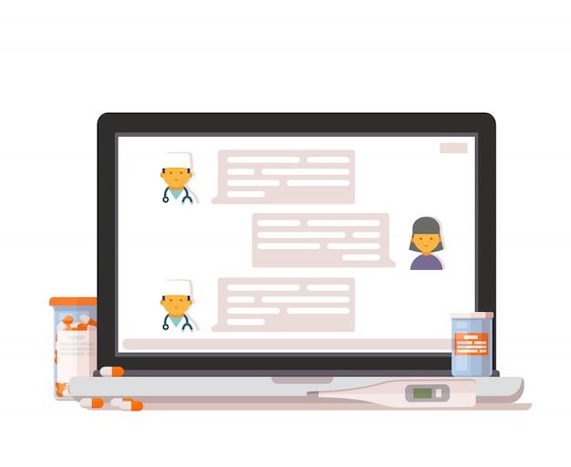 Ícone de consulta médica on-line.