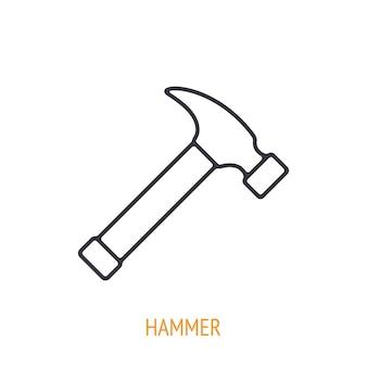 Ícone de contorno de martelo de garra ferramentas e instrumentos de trabalho manual. ilustração vetorial