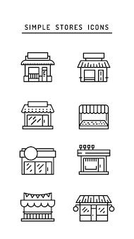 Ícone de contorno frontal de loja de comércio plana