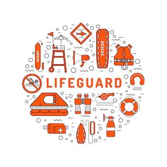 Ícone de contorno liso de salva-vidas