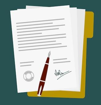 Ícone de contrato de contrato de papel assinado