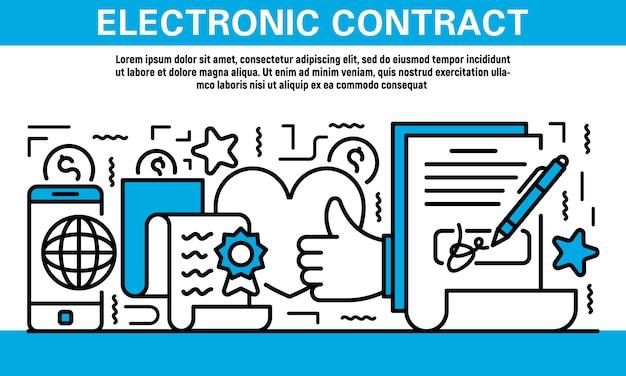 Ícone de contrato eletrônico definido no estilo de estrutura de tópicos