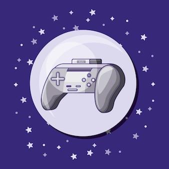 Ícone de controlador de videogame sobre fundo roxo