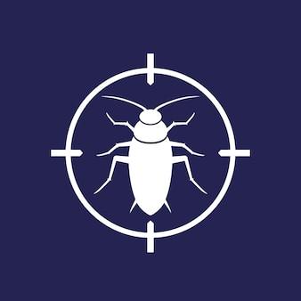 Ícone de controle de pragas com uma barata, sinal vetorial