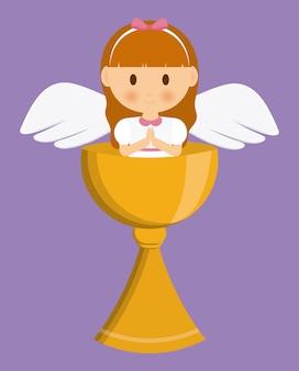 Ícone de copa dos desenhos animados de anjo de menina