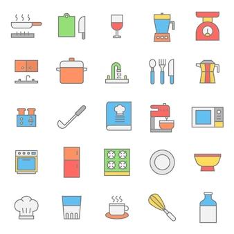 Ícone de cor plana de conjunto de cozinha