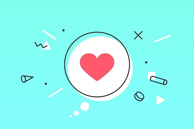 Ícone de coração, bolha do discurso. como ícone com coração