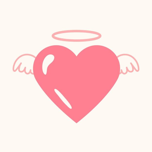 Ícone de coração de anjo, vetor gráfico de elemento fofo rosa