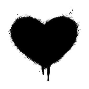Ícone de coração de graffiti pulverizado isolado no fundo branco. ilustração vetorial.