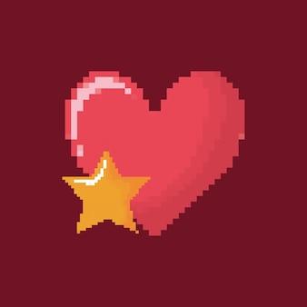 Ícone de coração e estrela de videogame