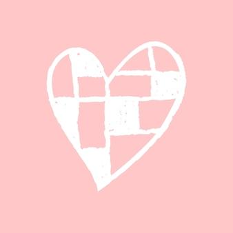 Ícone de coração quadriculado, desenho de doodle de dia dos namorados rosa vetorial