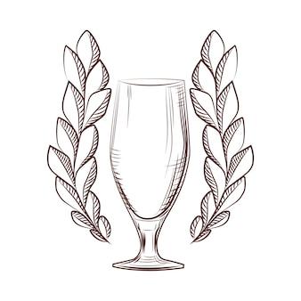 Ícone de coroa de louros isolado com um copo de cerveja no fundo branco. símbolo do troféu. logotipo do conceito. ilustração vetorial