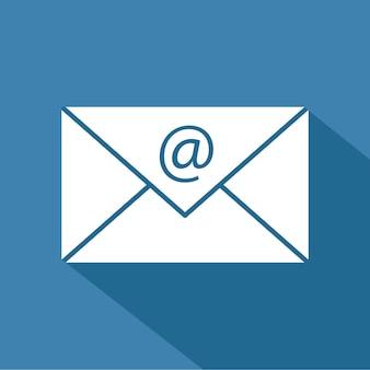 Ícone de correio, ilustração vetorial design plano com sombra longa
