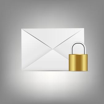 Ícone de correio no botão de vidro