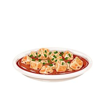 Ícone de cozinha chinesa de tofu de mapo. ilustração em vetor comida asiática de prato de tofu.