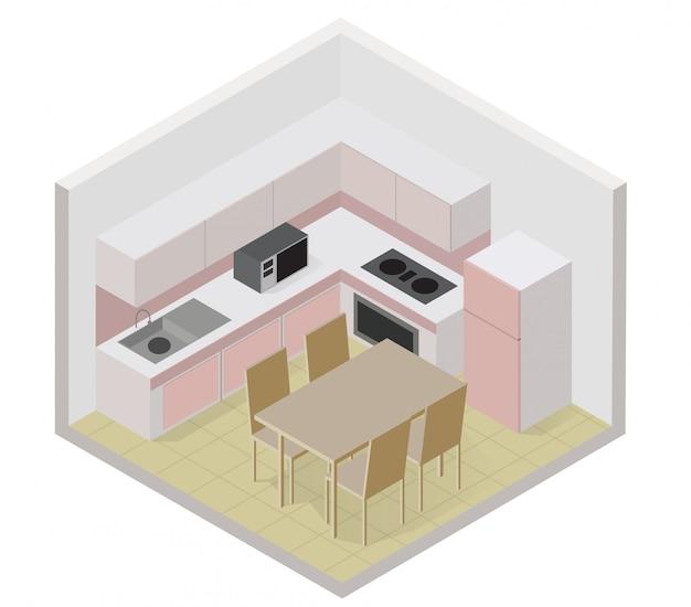 Ícone de cozinha isométrica com uma mesa e cadeira