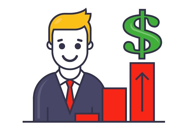 Ícone de crescimento de vendas. um profissional de marketing mostra um gráfico de desenvolvimento da empresa. ilustração em vetor personagem plana.
