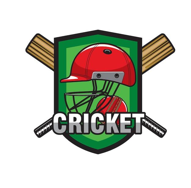 Ícone de críquete com taco cruzado, bola e capacete. equipe do clube de jogo de críquete ou emblema do campeonato com capacete protetor de jogador, jogador de críquete ou batedor, tacos de madeira e bola vermelha