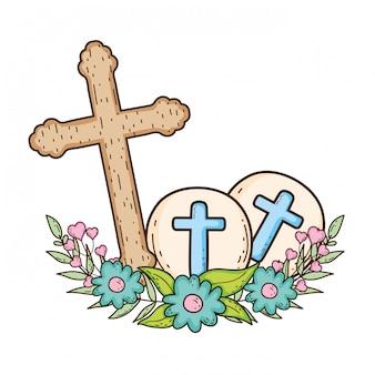 Ícone de cristianismo cruz de madeira