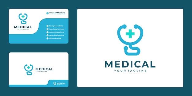 Ícone de cuidados médicos de saúde com estetoscópio e cruz mais design de logotipo com cartão de visita