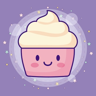 Ícone de cupcake kawaii com estrelas ao redor