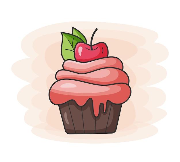 Ícone de cupcake sweet com cherry food para bares, restaurantes e lojas