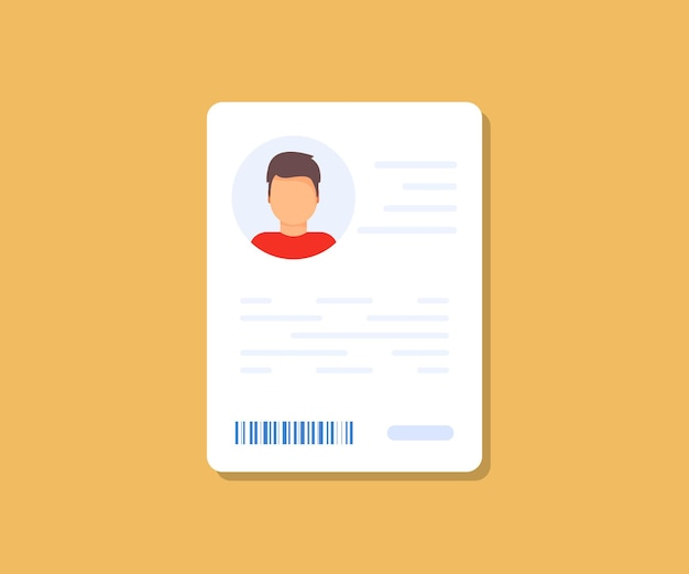 Ícone de dados de informações pessoais. ícone do cartão de identificação. ícone de dados de informações pessoais. símbolo de detalhes do cartão do usuário ou perfil, documento de identidade com foto e texto da pessoa. motorista, carteira de habilitação, carteira de identidade