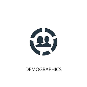 Ícone de dados demográficos. ilustração de elemento simples. design de símbolo de conceito de demografia. pode ser usado para web e celular.