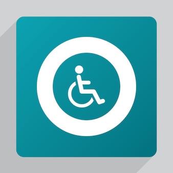 Ícone de deficiência plana, branco sobre fundo verde