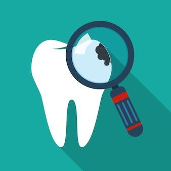 Ícone de dente rachado. ilustração.