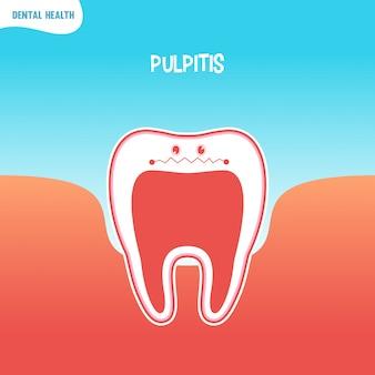 Ícone de dente ruim dos desenhos animados com pulpite