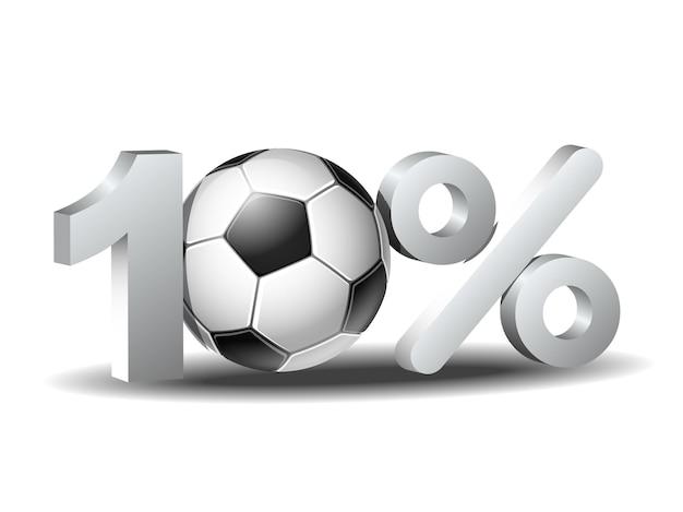 Ícone de desconto de dez por cento com bola de futebol