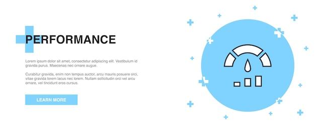 Ícone de desempenho, conceito de modelo de contorno de banner. design de ilustração de linha de desempenho