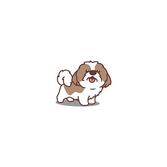 Ícone de desenho animado bonito cão shih tzu sorridente