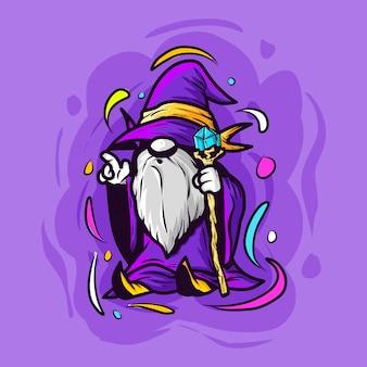 Ícone de desenho animado bonito velho feiticeiro mascote ilustração vetorial