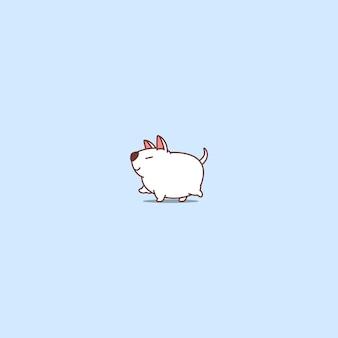 Ícone de desenho animado de andar de cão gordo bull terrier