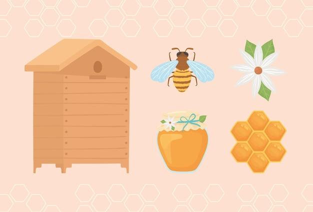 Ícone de desenho animado de apicultura