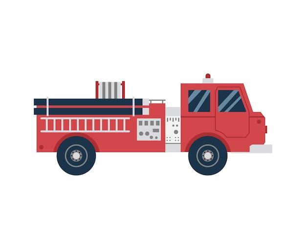 Ícone de desenho animado de caminhão de bombeiros ou carro de combate a incêndios