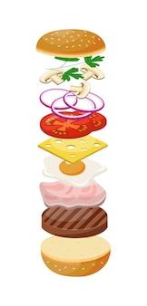 Ícone de desenho animado de hambúrguer ou cheeseburger com ingredientes alimentícios pulando no ar, ilustração vetorial plana isolada na superfície branca