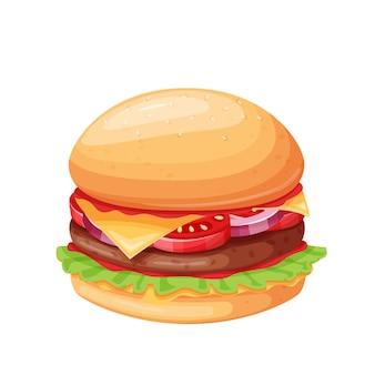 Ícone de desenho animado de hambúrguer ou cheeseburger
