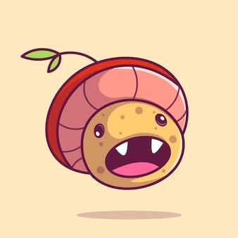 Ícone de desenho animado de ilustração de cogumelo fofo mascote