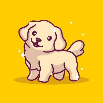 Ícone de desenho animado de ilustração de mascote de cachorro fofo
