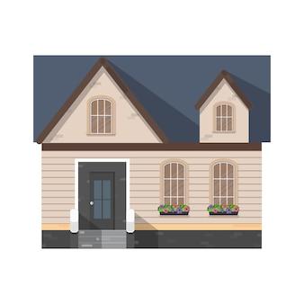 Ícone de desenho animado de vetor de casa. casa de ilustração vetorial em fundo branco. ícone de ilustração isolado dos desenhos animados do apartamento.