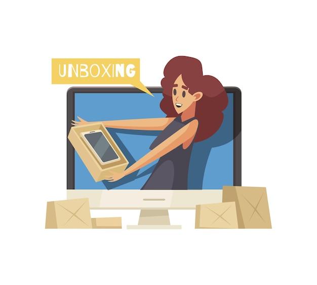 Ícone de desenho animado do video blogger de unboxing com uma mulher segurando uma caixa de papelão